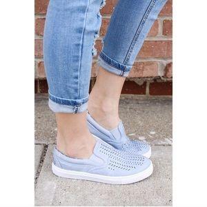 Qupid light blue slip on sneakers